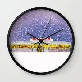 American Diner in Snowstorm Wall Clock