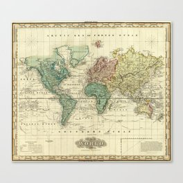 Vintage Map of The World (1823) Canvas Print