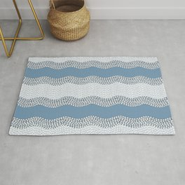 Wavy River VI in blue and grays Rug