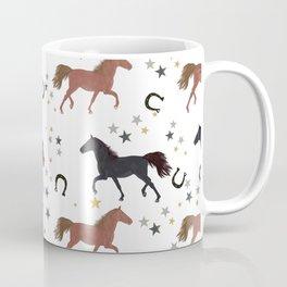 Horses With Horseshoe and Stars Pattern Coffee Mug