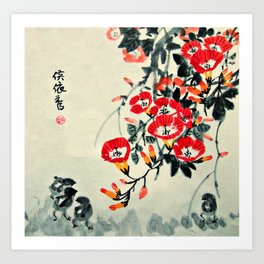 Three Chicks and Trumpet Flowers Art Print