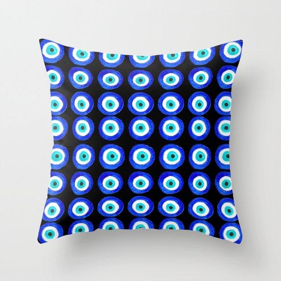 Evil Eye Talisman - on black Throw Pillow