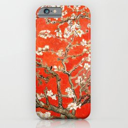 Red Almond Blossoms - Van Gogh (new color edit) iPhone Case