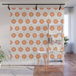 Modern orange yellow hand painted floral pattern Wall Mural
