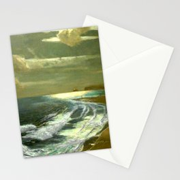 Moonlit Breaking Waves Along Dunes and Seashore with Lighthouse landscape painting by Julius Olsson Stationery Cards