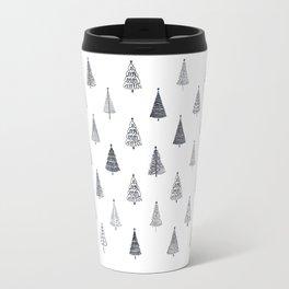 Rustic Christmas Trees Black and White Travel Mug