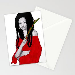 Girl with Flowers Stationery Cards