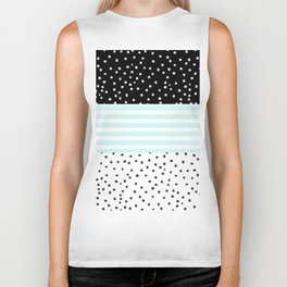 Modern black white teal stripes watercolor polka dots Biker Tank