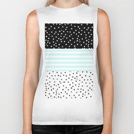 Modern black white teal stripes watercolor polka dots Biker Tank