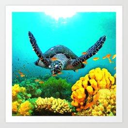 Turtle in Water Art Print