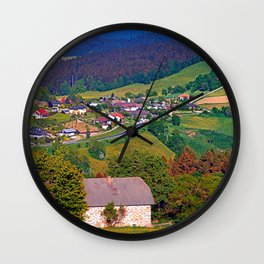 A farm, a valley and lots of panorama Wall Clock