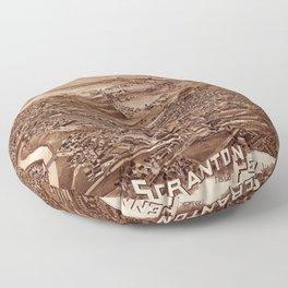 Map Of Scranton 1890 Floor Pillow