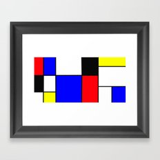 Red Blue Yellow squares design Framed Art Print
