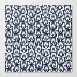 Japanese Waves Navy Canvas Print
