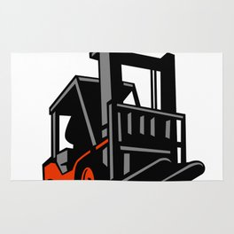 Forklift Truck Low Angle Retro Rug