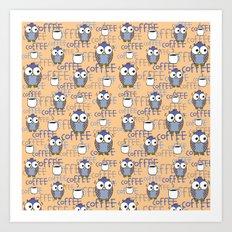 Owl orange pattern  Art Print