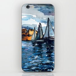 Yacht Sailing Middle Sea Race in Malta Grand Harbour - start of the regatta iPhone Skin