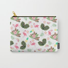 Tropical pink watercolor flamingo floral green leaves Carry-All Pouch
