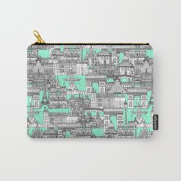Paris toile aquamarine Carry-All Pouch