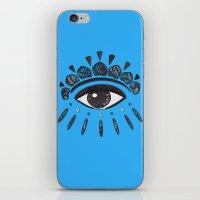 kenzo iPhone & iPod Skins featuring Kenzo eye blue by cvrcak