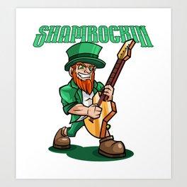 Shamrockin - Rocking Leprechaun With E-Guitar Art Print