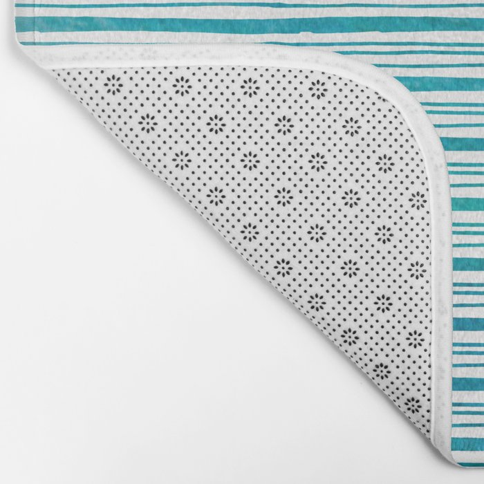 fine aqua handpainted stripes on clear white Bath Mat