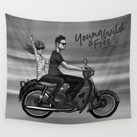 motorbike Wall Tapestries featuring The Ride by Camila Escat