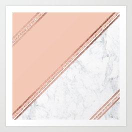 Modern stylish rose gold glitter geometric stripes blush pink white marble color block Art Print