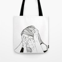 introvert Tote Bags featuring Introvert 1 by Heidi Banford