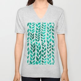 Simple Watercolor Leaves - Green Unisex V-Neck