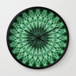 Mandala in light and dark green colors Wall Clock