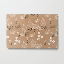 Brown and White Woodland Seamless Pattern Metal Print