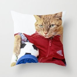 The Cat is #Adidas Throw Pillow