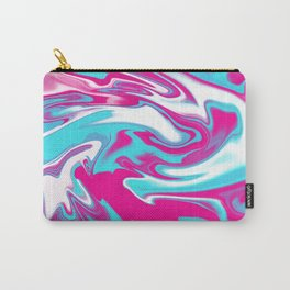 Aqua Magenta Marble Abstract wave Graphic design Carry-All Pouch