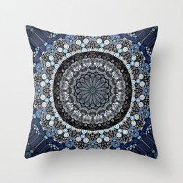 Dark Blue Grey Mandala Design Throw Pillow