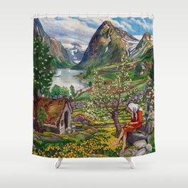 Alpine Lake Landscape, 'Girl, Springtime & Marigolds' by Nikolai Astrup Shower Curtain