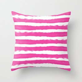 Simple pink and white hand drawn stripes - horizontal - for your summer Throw Pillow