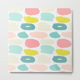 Artistic pink teal yellow black brushstrokes polka dots Metal Print
