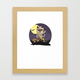 Cute Spooky Cat Mummy Jack O Lantern Pumpkin Halloween Framed Art Print