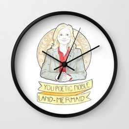 Leslie Knope of Parks & Rec Watercolor Illustration Wall Clock