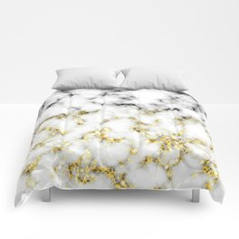 Black and white marble gold sparkle flakes Comforters