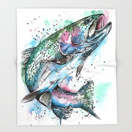 Rainbow Trout Throw Blanket