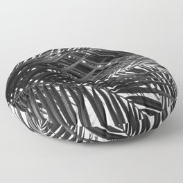 Tropical Palm Leaves - Black and White Nature Photography Floor Pillow