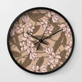 Sakura Branch Pattern - Pale Dogwood + Hazelnut Wall Clock