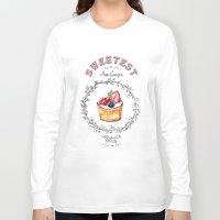 macaroons Long Sleeve T-shirts featuring Cake - Sweetest by AnnaGuryeva