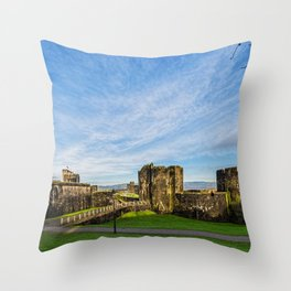 Caerphill Castle Panorama Throw Pillow