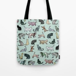 Cats shaped Marble - Mint Green Tote Bag