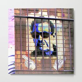 Melbourne Graffiti Street Art - Bono behind bars Metal Print