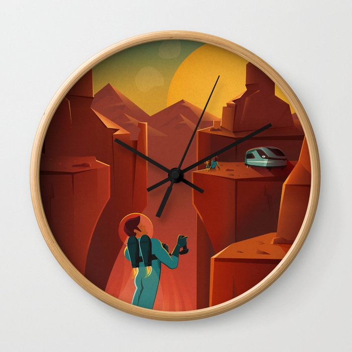 DISCOVER MARS - Valles Marineris | Space | X | Canyon | Retro | Vintage | Futurism | Sci-Fi Wall Clock