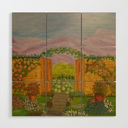 Beyond The Gate Acrylic Painting by Rosie Foshee Wood Wall Art